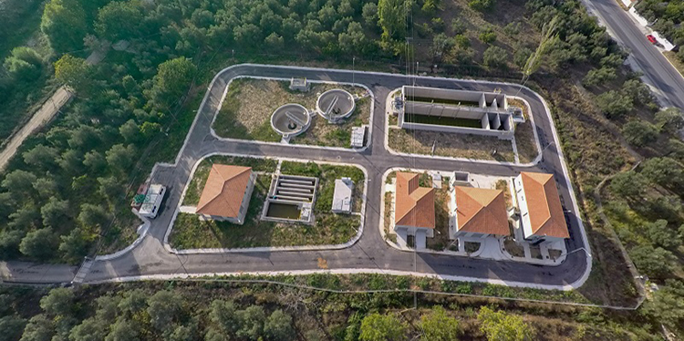 Sewerage and wastewater treatment facilities in Evergetoulas, Lesvos